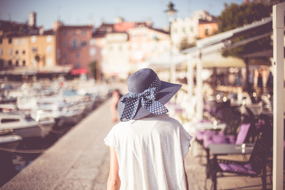 Young Girl Walking  in Croatian City Rovinj