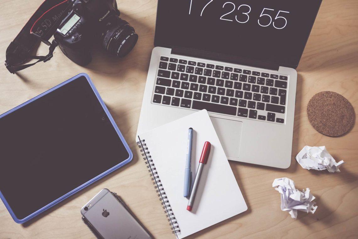 Creative designer photographer workspace