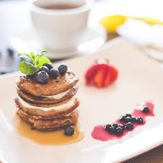 Healthy Pancakes with Cottage Cheese And Blueberries